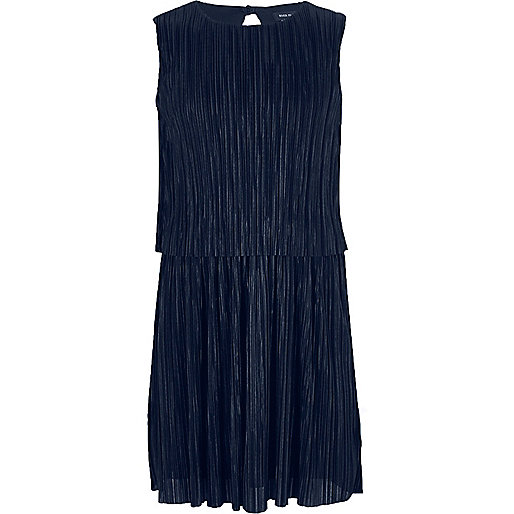 Girls navy double layer pleated dress