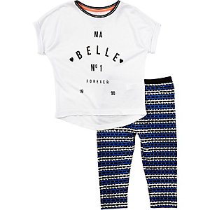 Mini girls white stripe leggings outfit