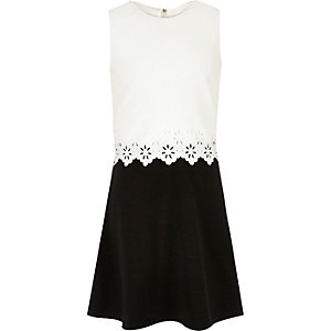 Girls white and black double layer dress