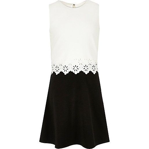 Girls white and black layered scallop dress