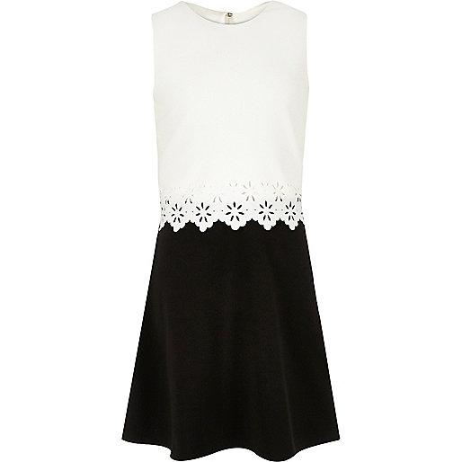 Girls white and black layered scallop dress