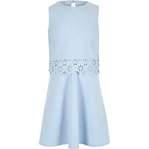 Girls light blue layered skater dress