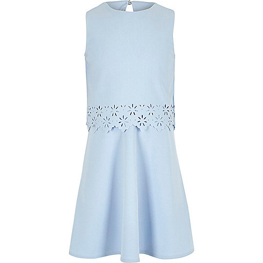 Girls light blue layered skater dress