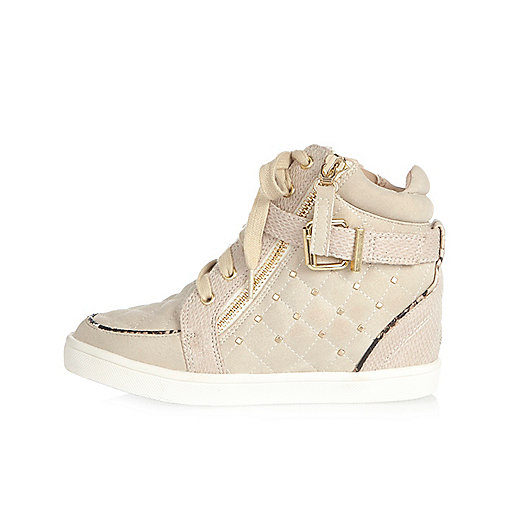 Girls cream studded hi tops