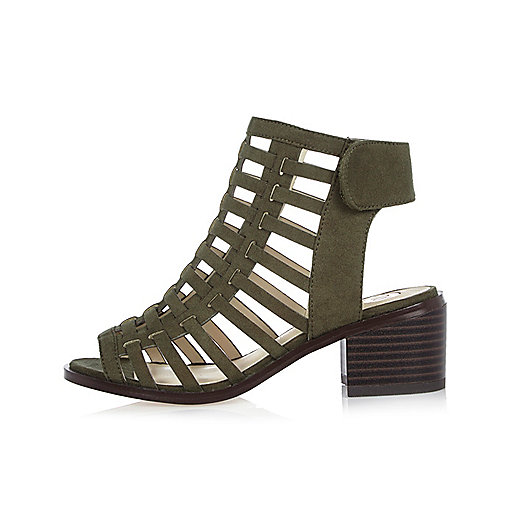 Sandales kaki à talons effet cage pour fille
