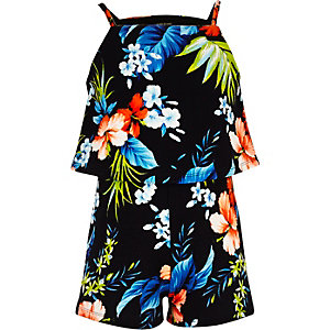 Girls black tropical print Romper
