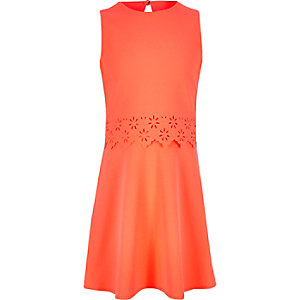 Girls coral layered skater dress