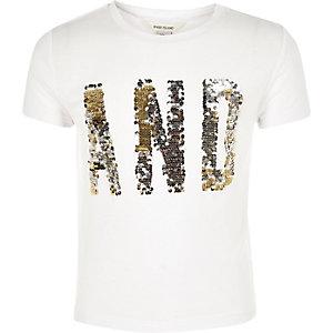T-shirt imprimé blanc à sequins pour fille