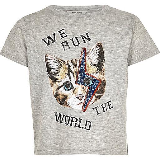 Girls grey sequin cat face t-shirt