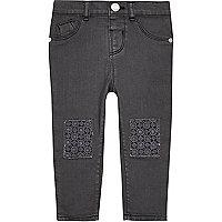 Mini girls grey crochet jeans