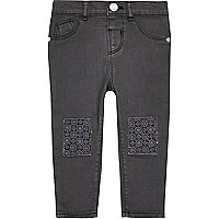 Mini girls grey crochet jeans