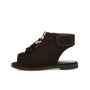 Mini girls black zip sandals