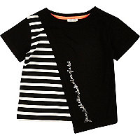 Mini girls black stripe asymmetric t-shirt