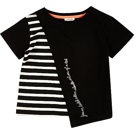 Mini girls black stripe asymmetric t-shirt
