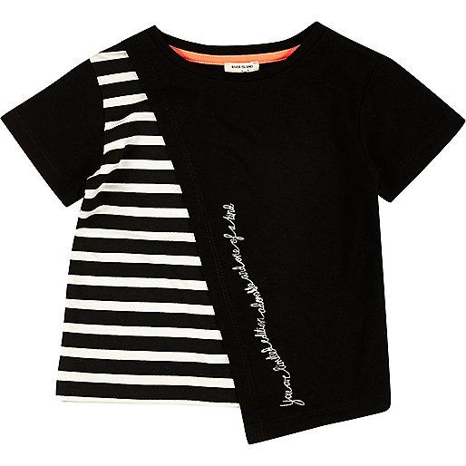 T-shirt asymétrique rayé noir pour mini fille