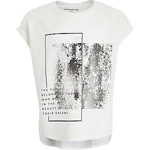 Girls white silver foil t-shirt