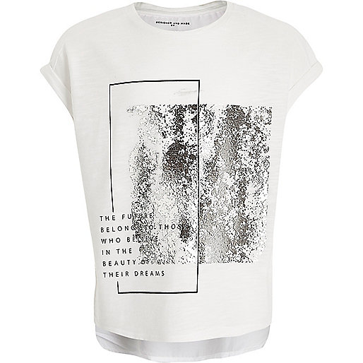Girls white silver metallic T-shirt