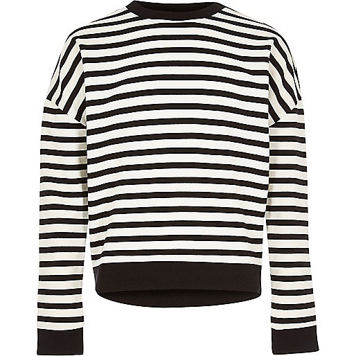 Girls white stripe slouchy top