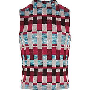 Girls red jacquard high neck top