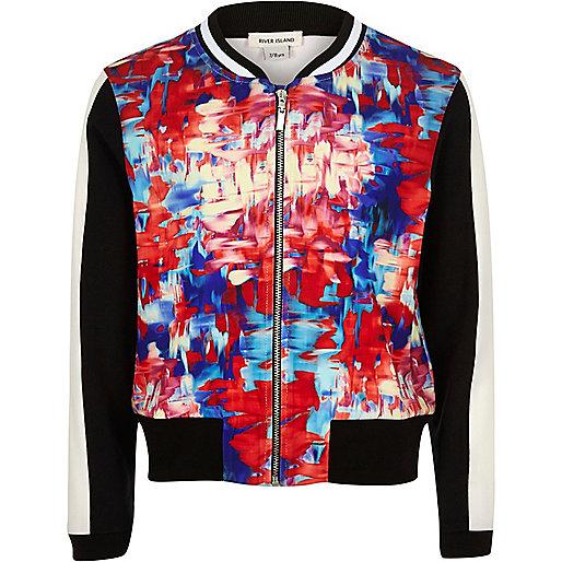 Girls pink print bomber jacket