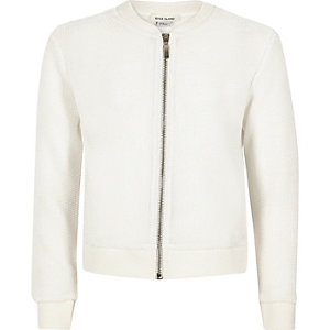 Girls white knitted bomber jacket