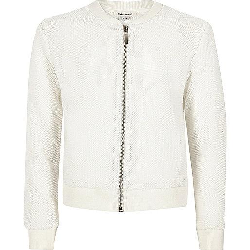 Girls white knitted bomber jacket