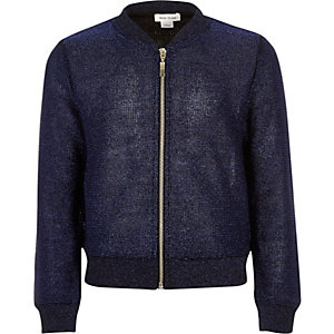 Girls navy knitted bomber jacket