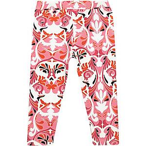 Mini girls pink print leggings