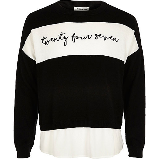 Girls black word panel sweater