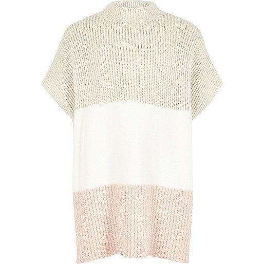 Girls cream color block poncho