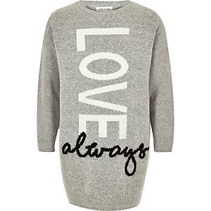 Robe pull imprimé Love grise pour fille