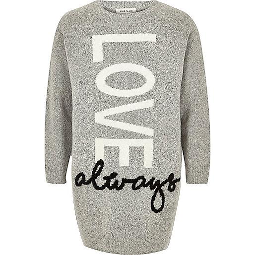 """Graues Pulloverkleid mit """"Love""""-Aufdruck"""