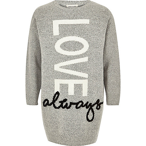 Girls grey Love print sweater dress