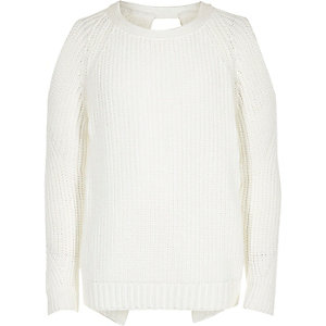 Girls white cold shoulder jumper