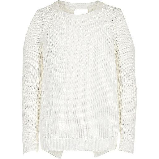 Girls white cold shoulder jumper