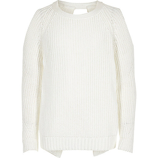 Girls white cold shoulder sweater