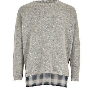 Girls grey double layer sweater