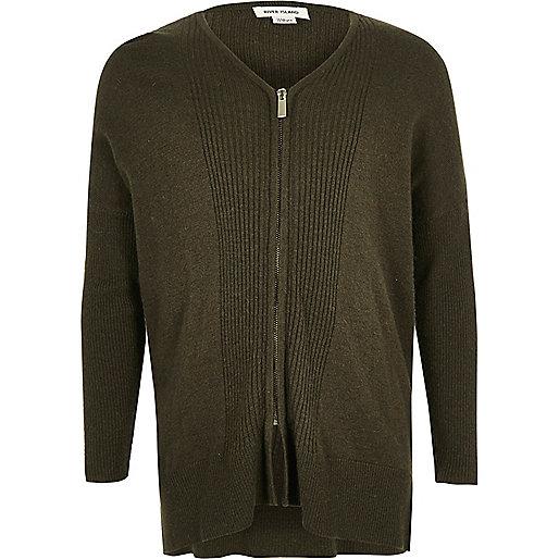 Girls khaki green knit zip cardigan