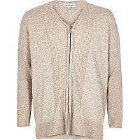 Girls cream knitted zip cardigan