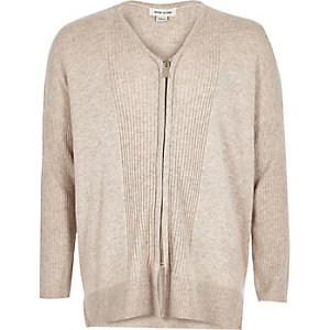 Girls cream knitted zip cardigan