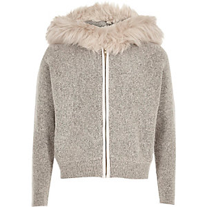 Girls stone knit faux fur trim hoodie