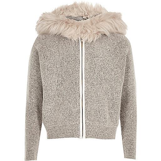 Girls stone knit faux fur trim hoodie