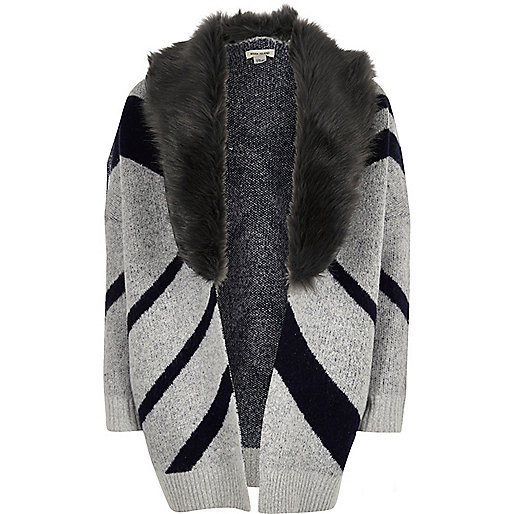 Girls navy Aztec print cardigan
