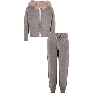 Girls grey zip hoodie and jogger outfit