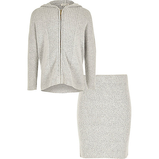 Girls grey zip hoodie and skirt set