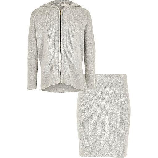 Ensemble jupe et sweat zippé gris à capuche pour fille