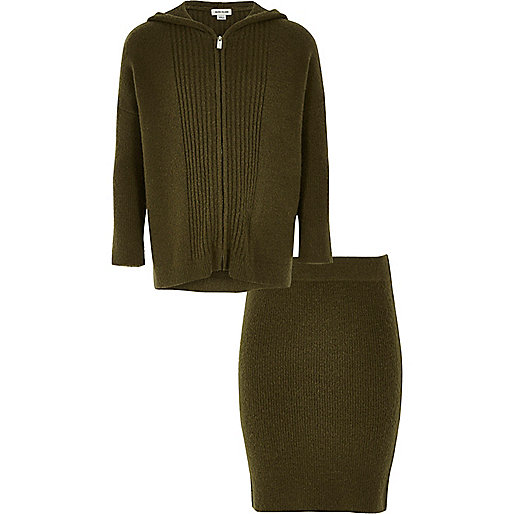 Girls khaki knit zip up hoodie skirt outfit