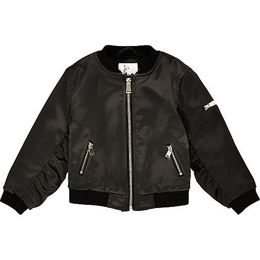 Mini girls black bomber jacket