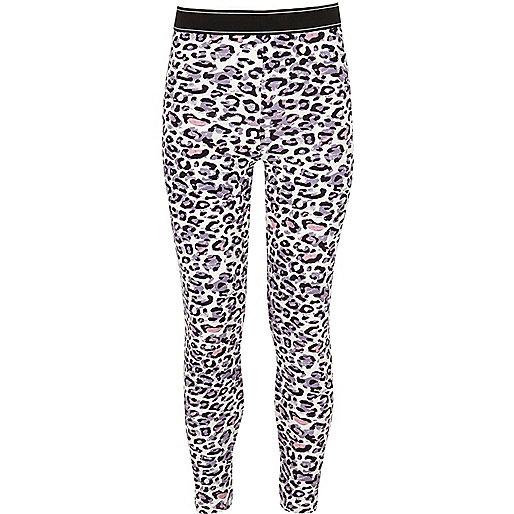 Girls pink leopard print leggings