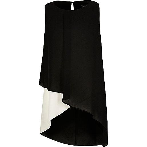 Girls black wrap tunic